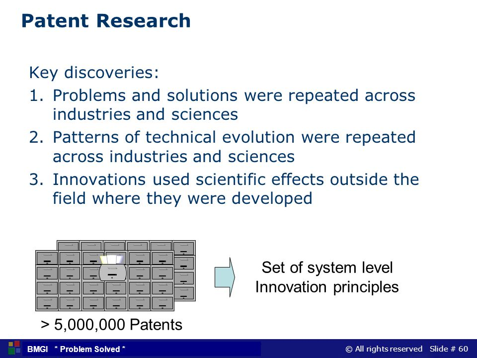 © All rights reserved Slide # 60 BMGI * Problem Solved * Patent Research Key discoveries: 1.Problems and solutions were repeated across industries and