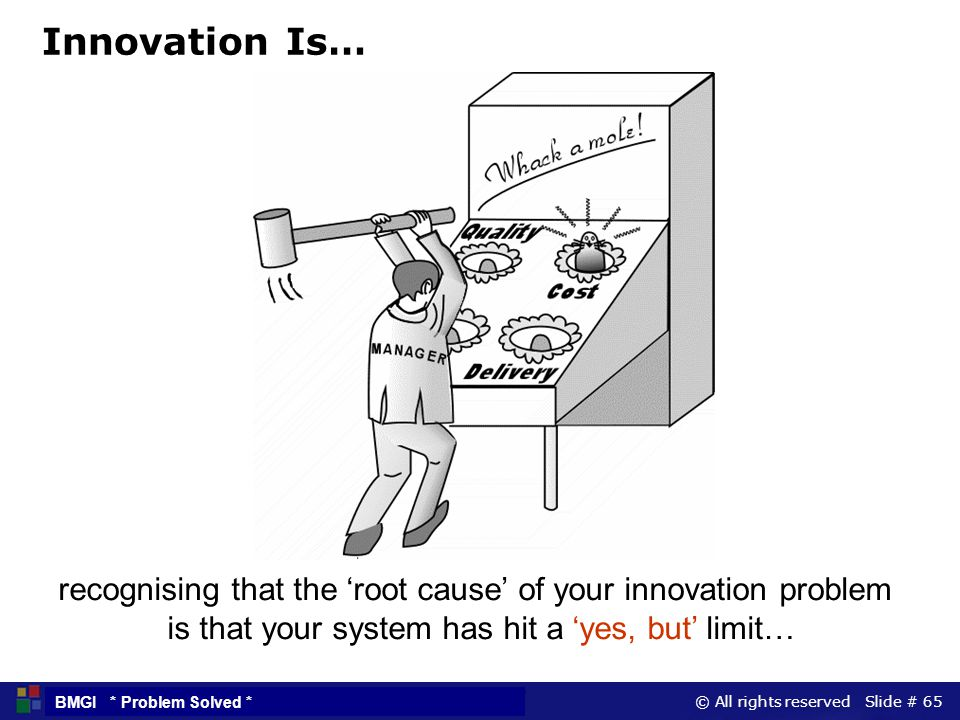 © All rights reserved Slide # 65 BMGI * Problem Solved * Innovation Is… recognising that the root cause of your innovation problem is that your system