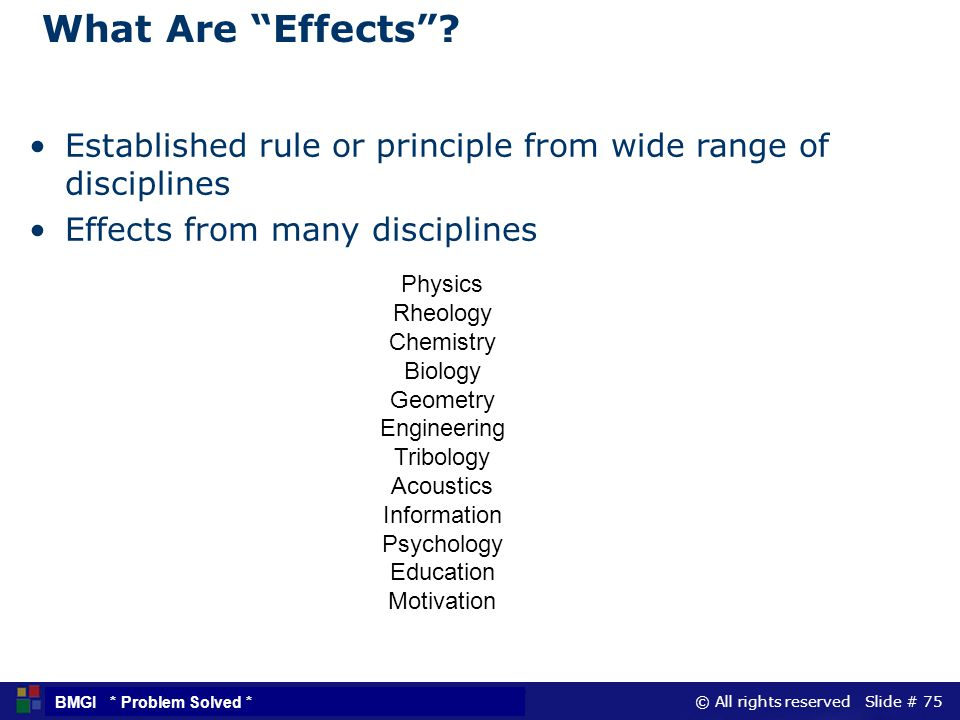 © All rights reserved Slide # 75 BMGI * Problem Solved * What Are Effects? Established rule or principle from wide range of disciplines Effects from m