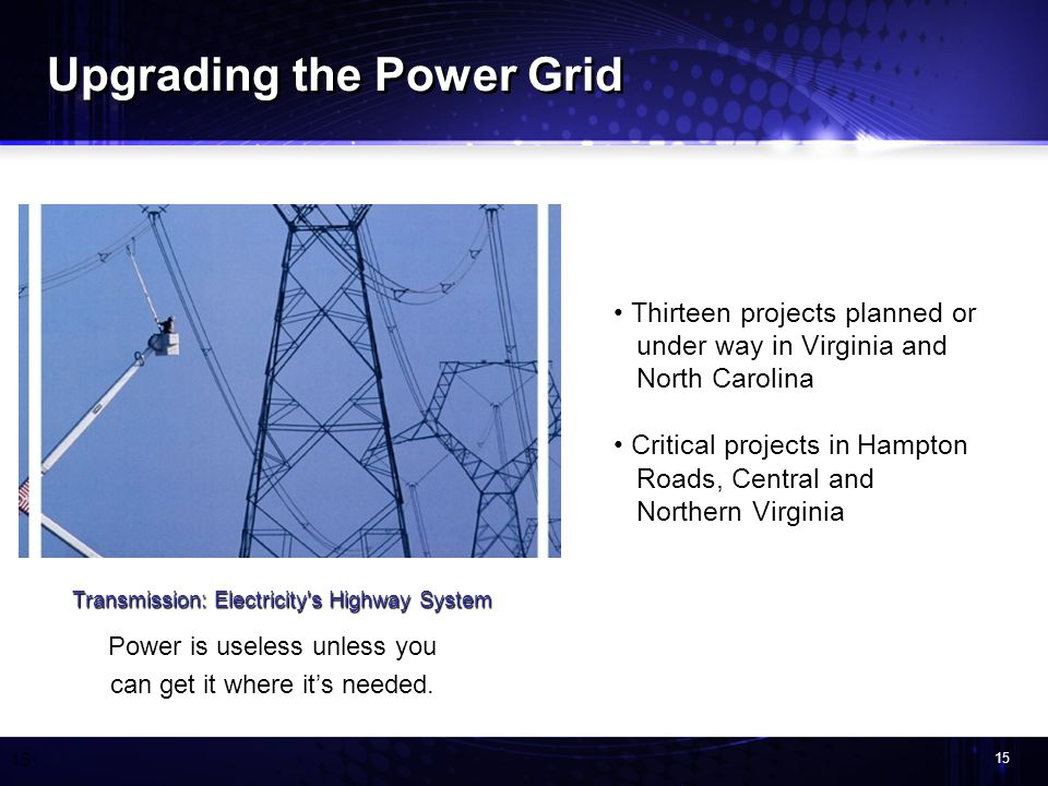 15 Transmission: Electricity s Highway System Power is useless unless you can get it where its needed.