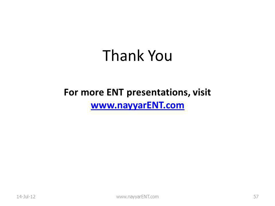 Thank You For more ENT presentations, visit www.nayyarENT.com www.nayyarENT.com 14-Jul-12www.nayyarENT.com57