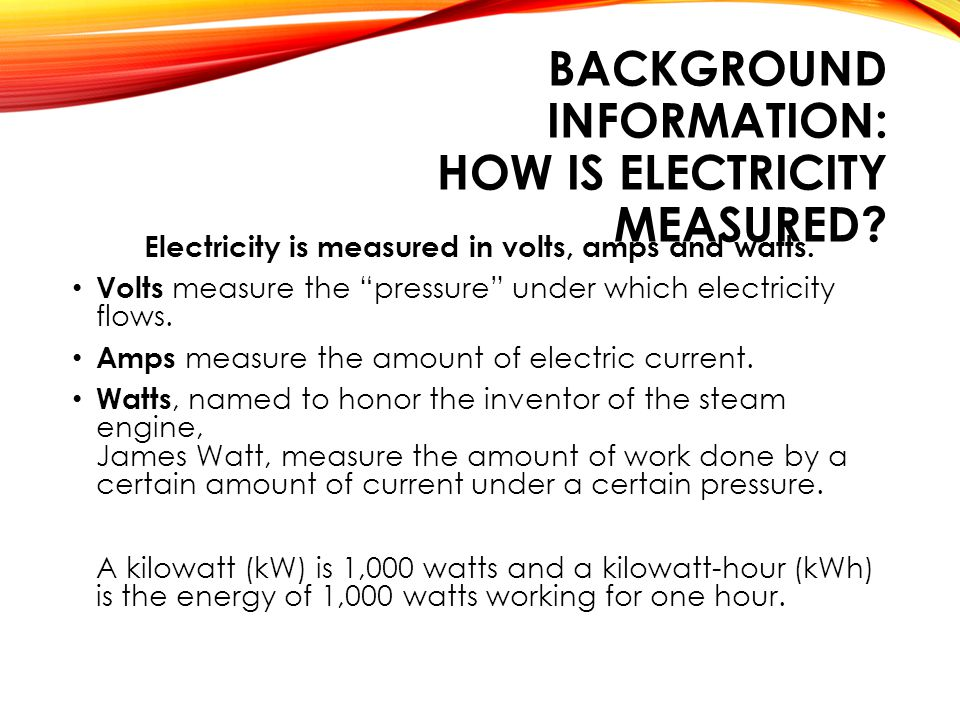 BACKGROUND INFORMATION: HOW IS ELECTRICITY MEASURED.