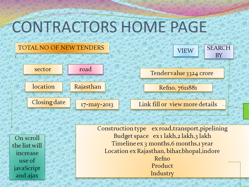 CONTRACTORS HOME PAGE 1 VIEW SEARCH BY Construction type ex road,transport,pipelining Budget space ex 1 lakh,2 lakh,3 lakh Timeline ex 3 months,6 mont
