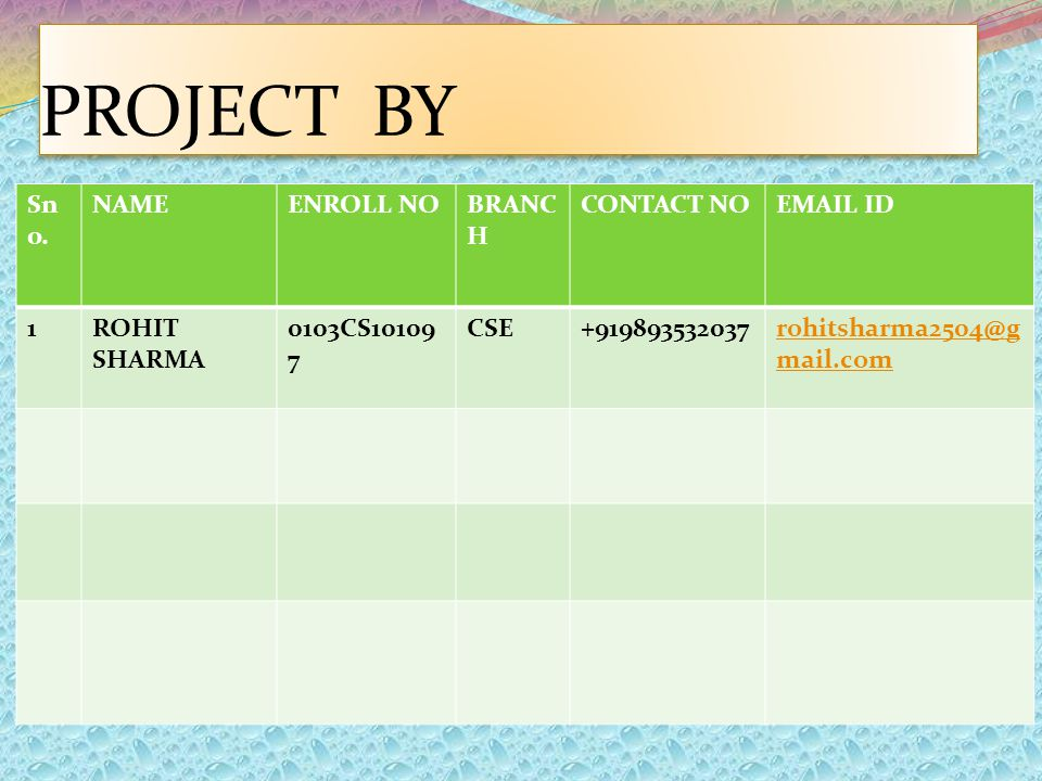 PROJECT BY Sn o. NAMEENROLL NOBRANC H CONTACT NOEMAIL ID 1ROHIT SHARMA 0103CS10109 7 CSE+919893532037rohitsharma2504@g mail.com