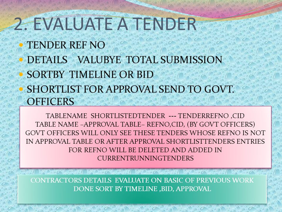 2. EVALUATE A TENDER TENDER REF NO DETAILS VALUBYE TOTAL SUBMISSION SORTBY TIMELINE OR BID SHORTLIST FOR APPROVAL SEND TO GOVT. OFFICERS TABLENAME SHO
