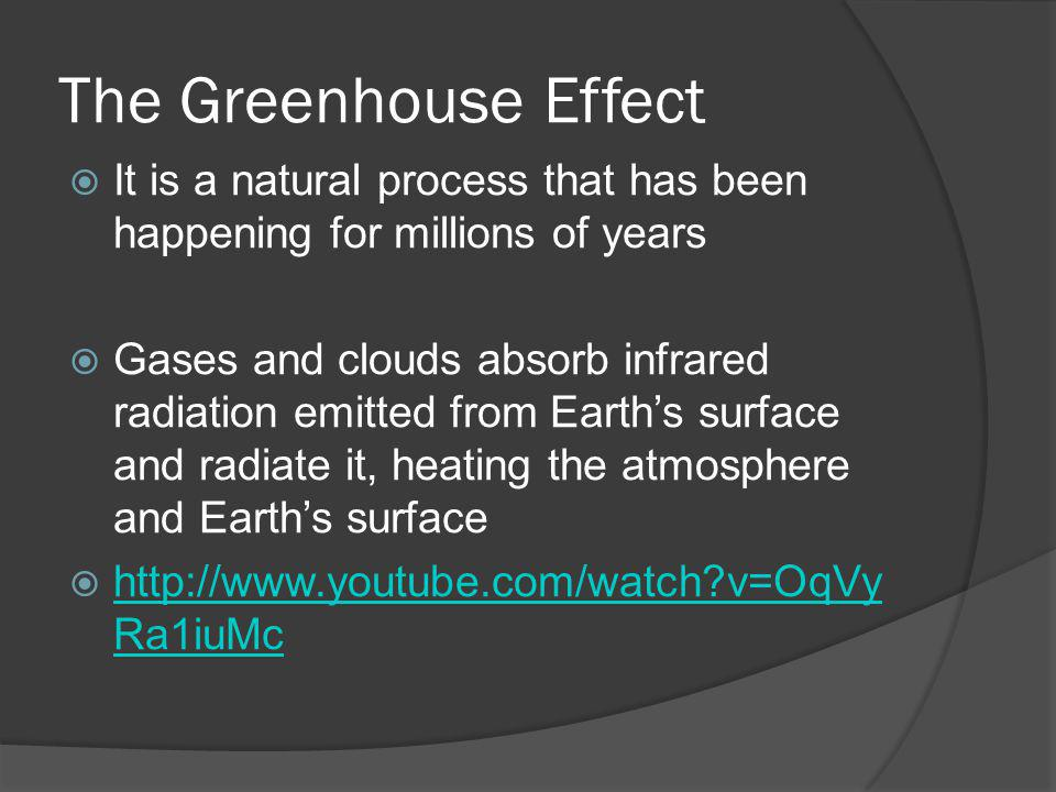 The Greenhouse Effect It is a natural process that has been happening for millions of years Gases and clouds absorb infrared radiation emitted from Ea