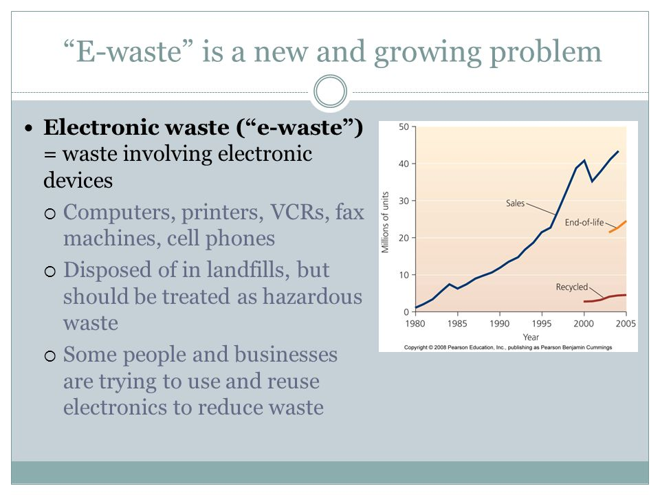 E-waste is a new and growing problem Electronic waste (e-waste) = waste involving electronic devices Computers, printers, VCRs, fax machines, cell pho