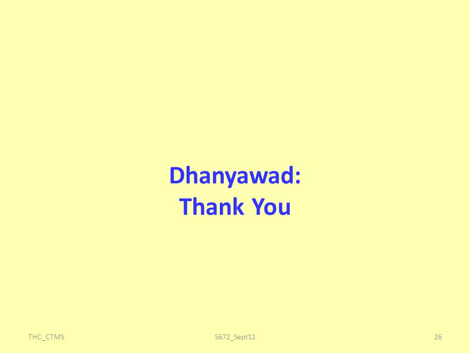 Dhanyawad: Thank You THC_CTMS26S672_Sept12