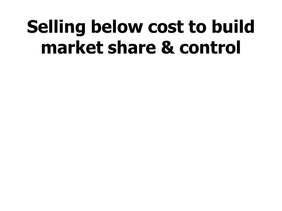 Selling below cost to build market share & control