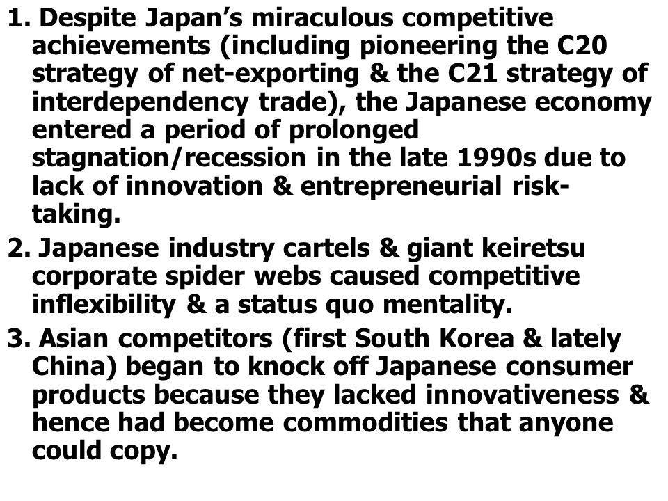 1. Despite Japans miraculous competitive achievements (including pioneering the C20 strategy of net-exporting & the C21 strategy of interdependency tr