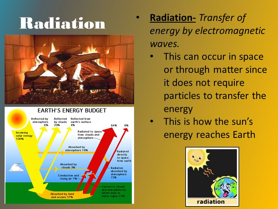 Radiation Radiation- Transfer of energy by electromagnetic waves. This can occur in space or through matter since it does not require particles to tra