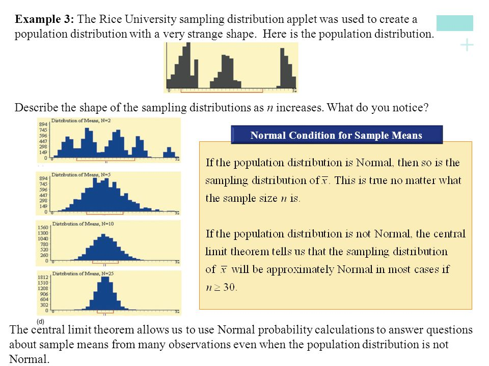+ Describe the shape of the sampling distributions as n increases. What do you notice? Normal Condition for Sample Means Example 3: The Rice Universit