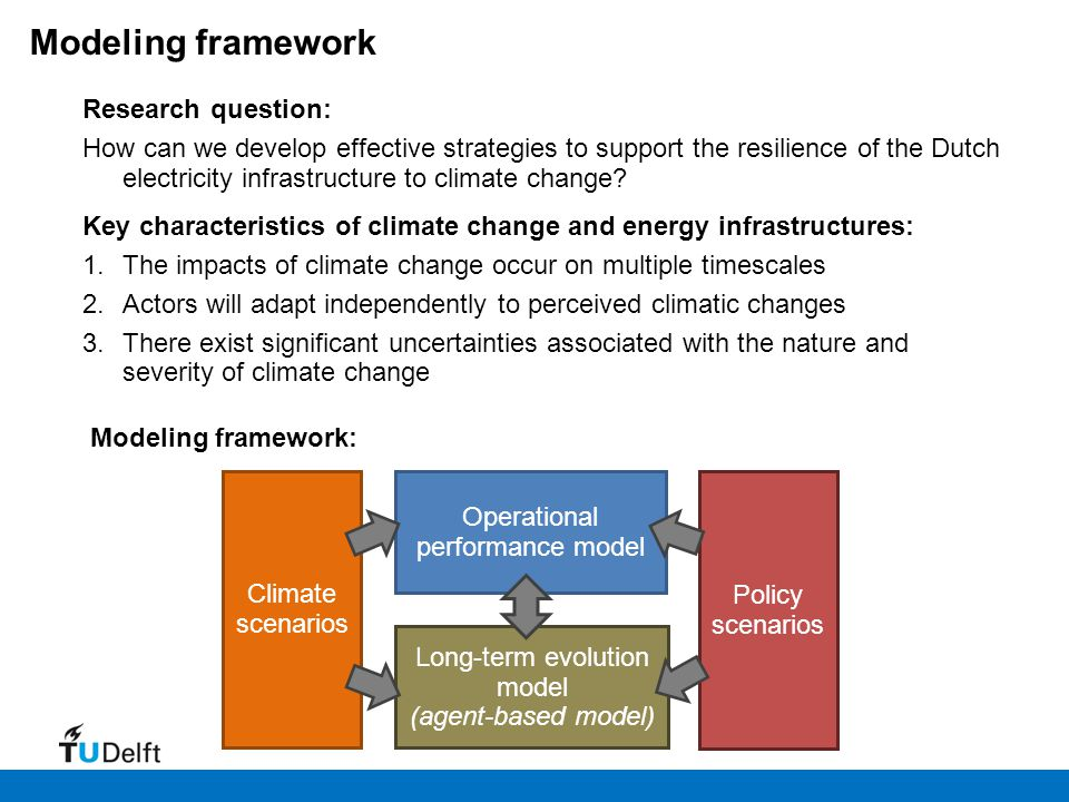Key characteristics of climate change and energy infrastructures: 1.The impacts of climate change occur on multiple timescales 2.Actors will adapt ind