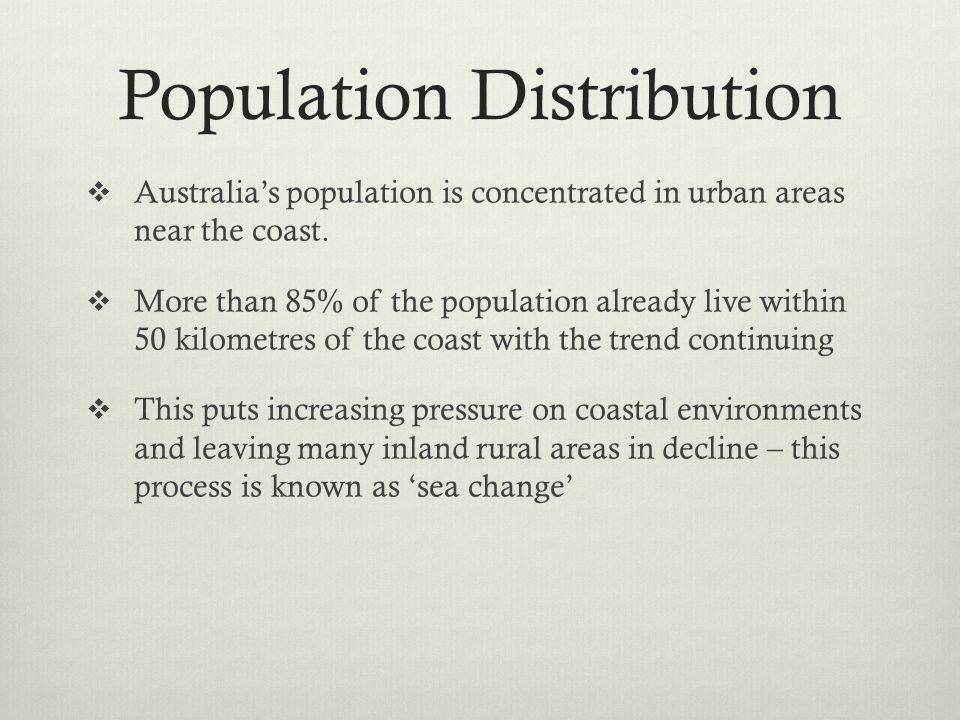 Population Distribution Australias population is concentrated in urban areas near the coast. More than 85% of the population already live within 50 ki