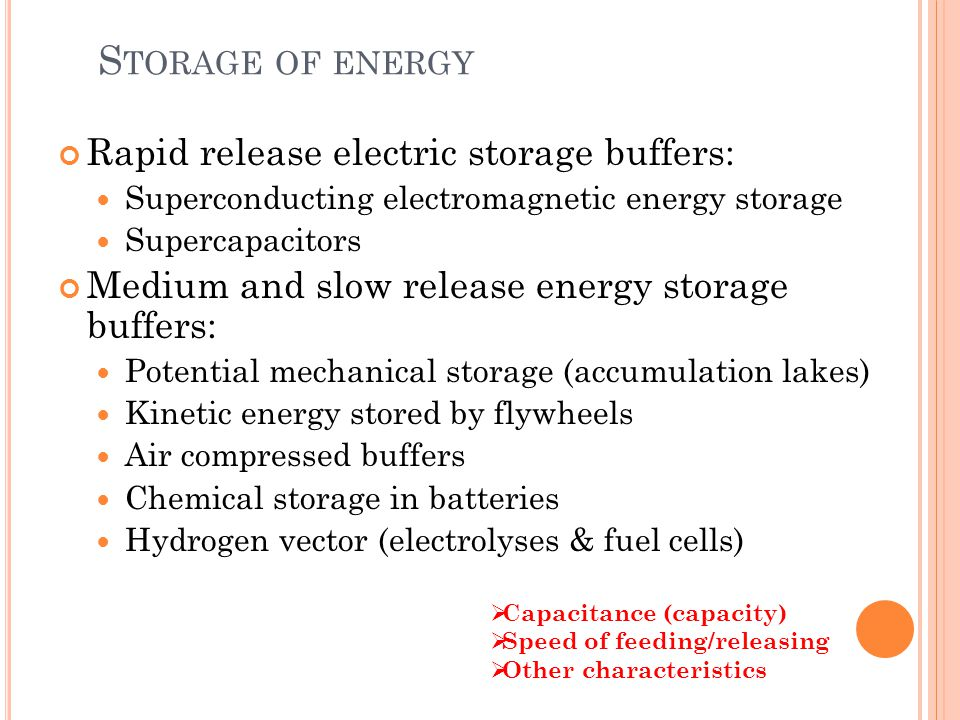 S TORAGE OF ENERGY Rapid release electric storage buffers: Superconducting electromagnetic energy storage Supercapacitors Medium and slow release energy storage buffers: Potential mechanical storage (accumulation lakes) Kinetic energy stored by flywheels Air compressed buffers Chemical storage in batteries Hydrogen vector (electrolyses & fuel cells) Capacitance (capacity) Speed of feeding/releasing Other characteristics