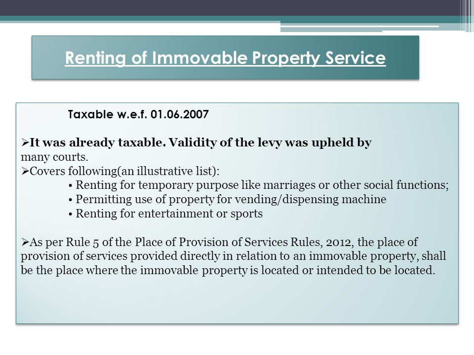 Example For Instance: 1) Value of flats sold by M/s ABC Ltd = Rs 1,00,00,000/- (Taxable Service) Service Tax discharged = Company is paying service tax at the rate of 3.09% on the above value.