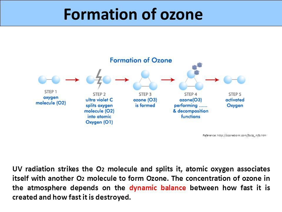 O UV radiation strikes the O 2 molecule and splits it, atomic oxygen associates itself with another O 2 molecule to form Ozone.