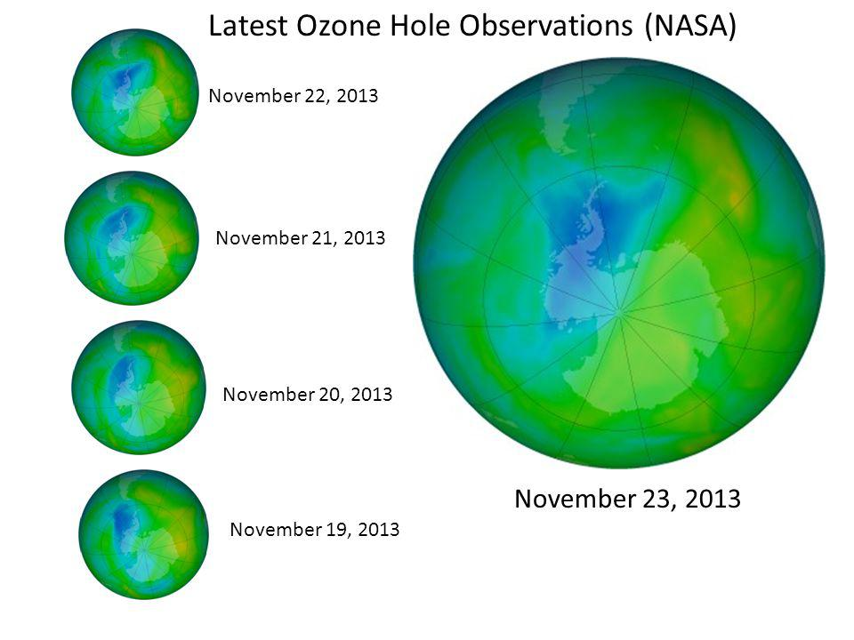 November 22, 2013 November 21, 2013 November 20, 2013 November 19, 2013 November 23, 2013 Latest Ozone Hole Observations (NASA)