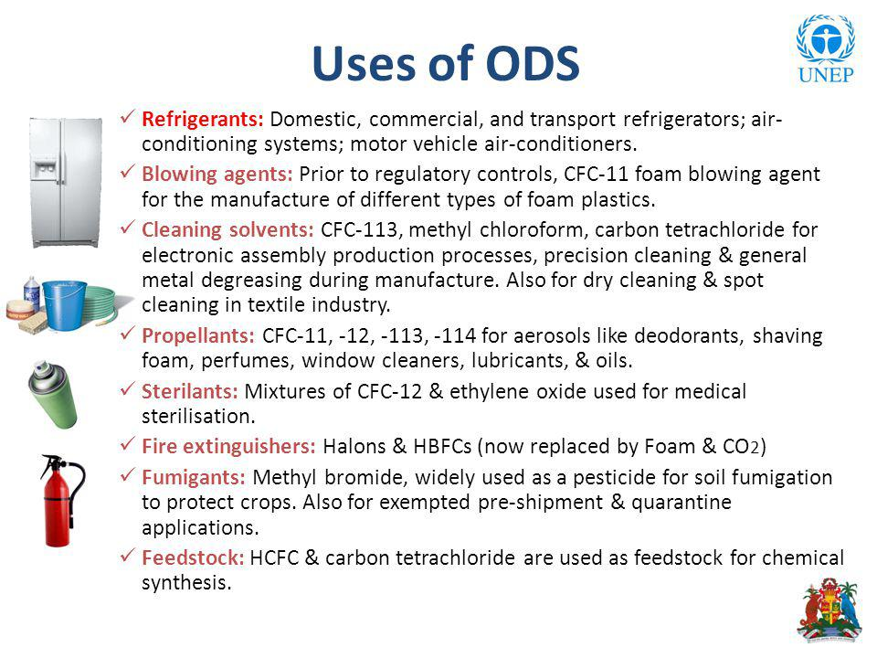 Uses of ODS Refrigerants: Domestic, commercial, and transport refrigerators; air- conditioning systems; motor vehicle air-conditioners.