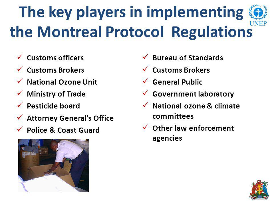 The key players in implementing the Montreal Protocol Regulations Customs officers Customs Brokers National Ozone Unit Ministry of Trade Pesticide board Attorney Generals Office Police & Coast Guard Bureau of Standards Customs Brokers General Public Government laboratory National ozone & climate committees Other law enforcement agencies