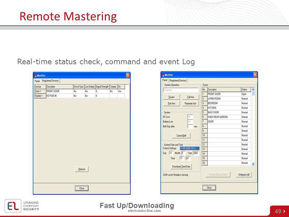 electronics-line.com 49 Remote Mastering Monitoring station Real-time status check, command and event Log Fast Up/Downloading