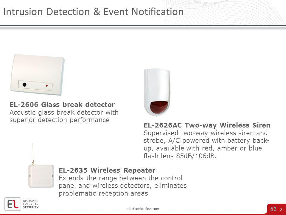 electronics-line.com 53 Intrusion Detection & Event Notification EL-2635 Wireless Repeater Extends the range between the control panel and wireless de