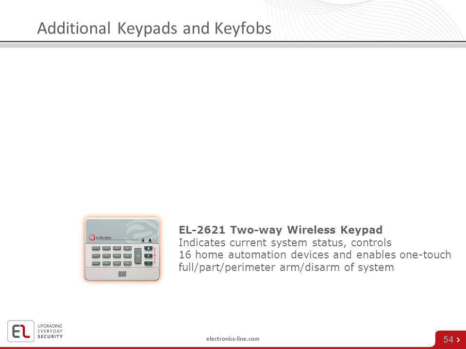 electronics-line.com 54 EL-2621 Two-way Wireless Keypad Indicates current system status, controls 16 home automation devices and enables one-touch ful