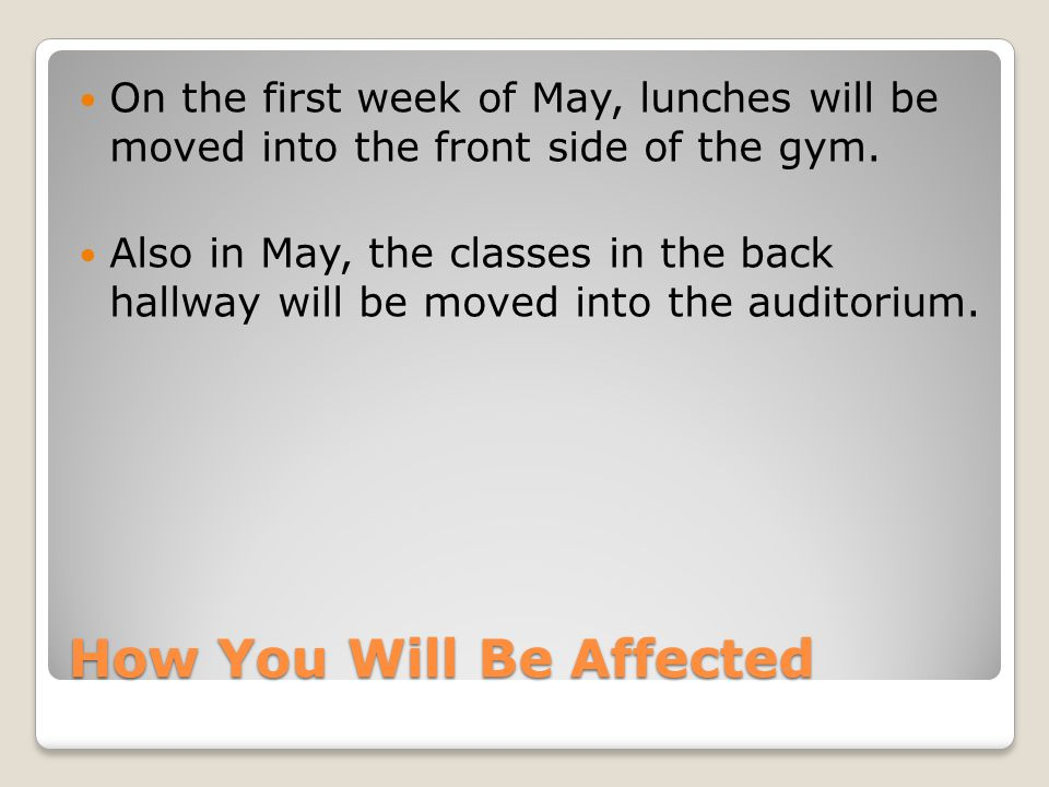 How You Will Be Affected On the first week of May, lunches will be moved into the front side of the gym.