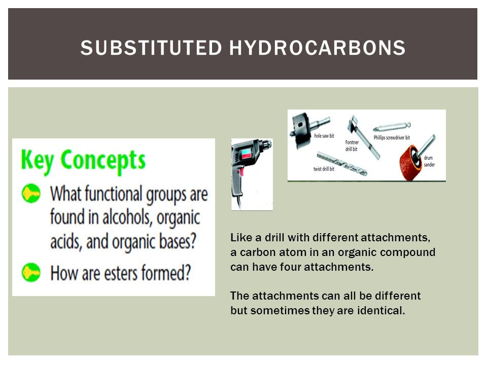 SUBSTITUTED HYDROCARBONS Like a drill with different attachments, a carbon atom in an organic compound can have four attachments.