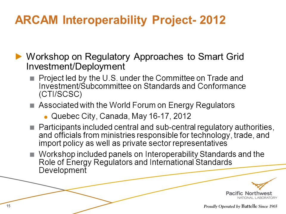 ARCAM Interoperability Project- 2012 Workshop on Regulatory Approaches to Smart Grid Investment/Deployment Project led by the U.S. under the Committee