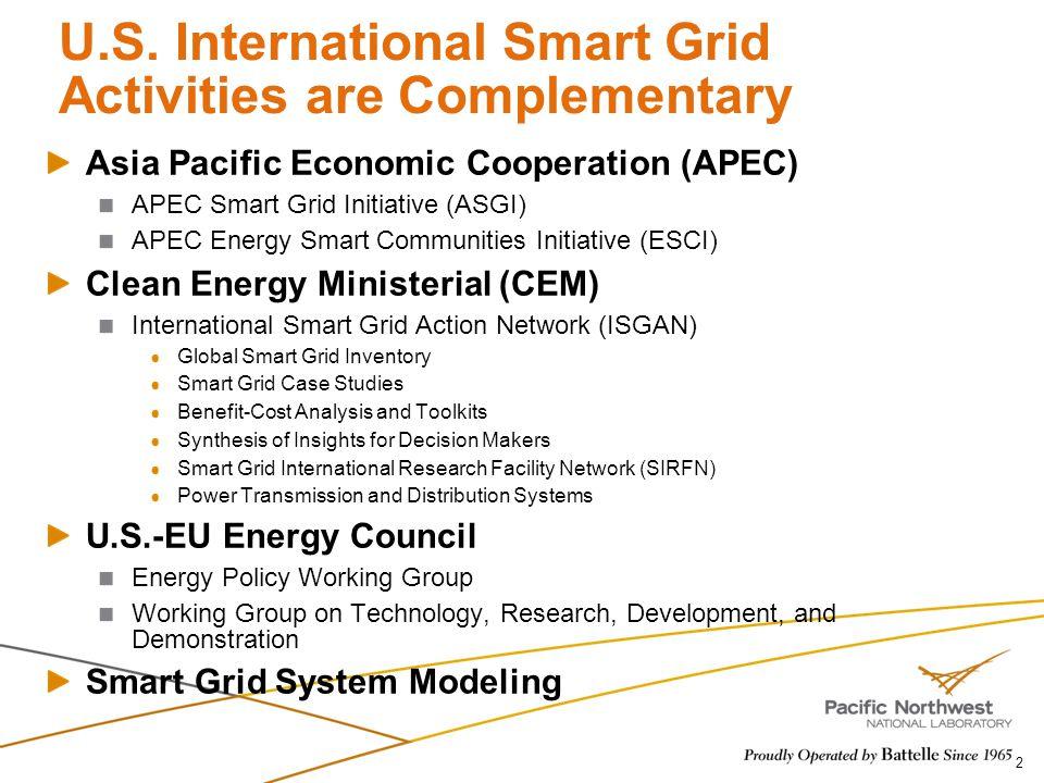 U.S. International Smart Grid Activities are Complementary Asia Pacific Economic Cooperation (APEC) APEC Smart Grid Initiative (ASGI) APEC Energy Smar