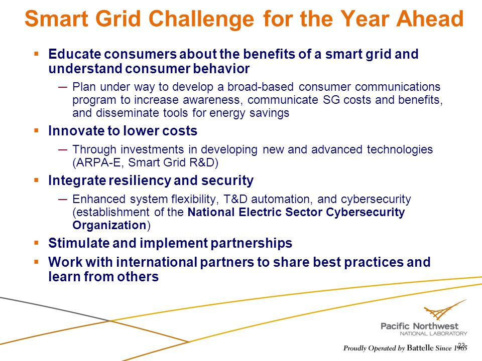 Smart Grid Challenge for the Year Ahead 23 Educate consumers about the benefits of a smart grid and understand consumer behavior Plan under way to dev