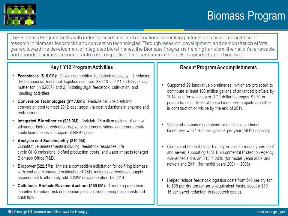 16 | Energy Efficiency and Renewable Energy eere.energy.gov16 | Energy Efficiency and Renewable Energyeere.energy.gov Biomass Program The Biomass Prog
