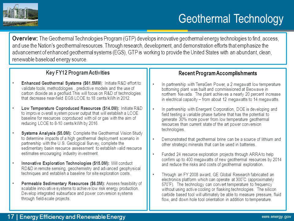 17 | Energy Efficiency and Renewable Energy eere.energy.gov Geothermal Technology Overview: The Geothermal Technologies Program (GTP) develops innovat