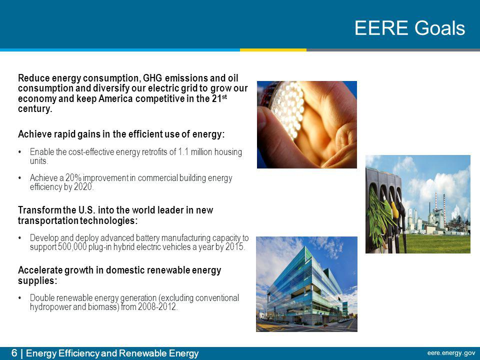 6 | Energy Efficiency and Renewable Energy eere.energy.gov EERE Goals Reduce energy consumption, GHG emissions and oil consumption and diversify our e