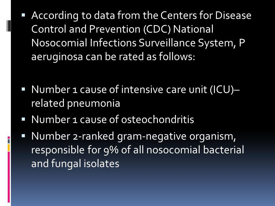 According to data from the Centers for Disease Control and Prevention (CDC) National Nosocomial Infections Surveillance System, P aeruginosa can be ra
