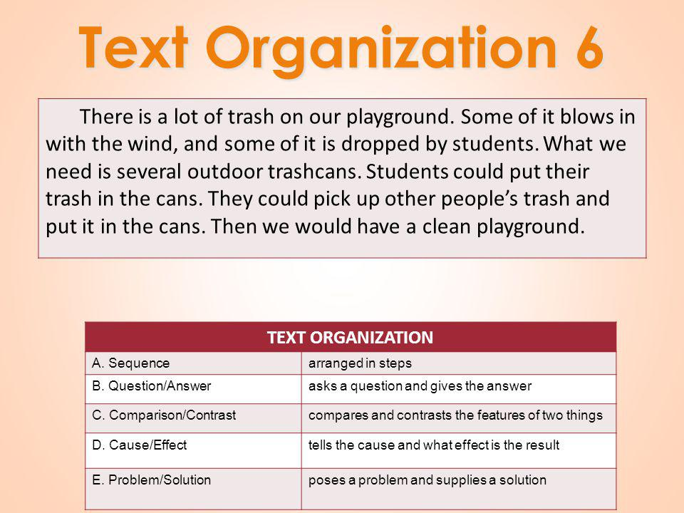 Text Organization 6 There is a lot of trash on our playground.