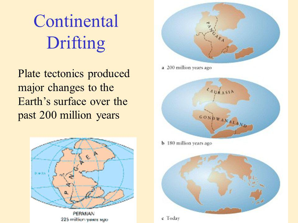 Plate tectonics produced major changes to the Earths surface over the past 200 million years Continental Drifting