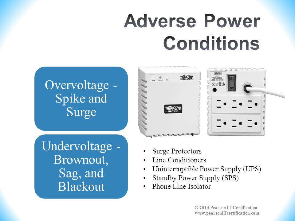Overvoltage - Spike and Surge Undervoltage - Brownout, Sag, and Blackout © 2014 Pearson IT Certification www.pearsonITcertification.com Surge Protecto