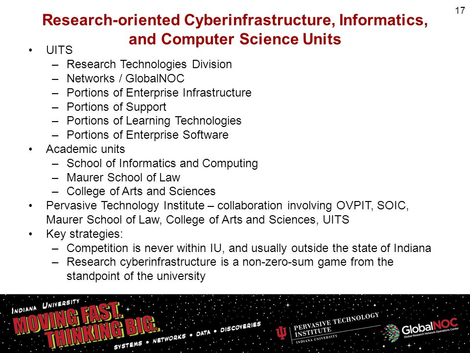 Research-oriented Cyberinfrastructure, Informatics, and Computer Science Units UITS –Research Technologies Division –Networks / GlobalNOC –Portions of