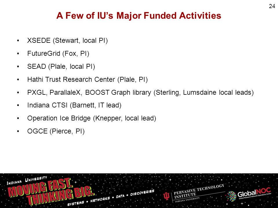 A Few of IUs Major Funded Activities XSEDE (Stewart, local PI) FutureGrid (Fox, PI) SEAD (Plale, local PI) Hathi Trust Research Center (Plale, PI) PXG