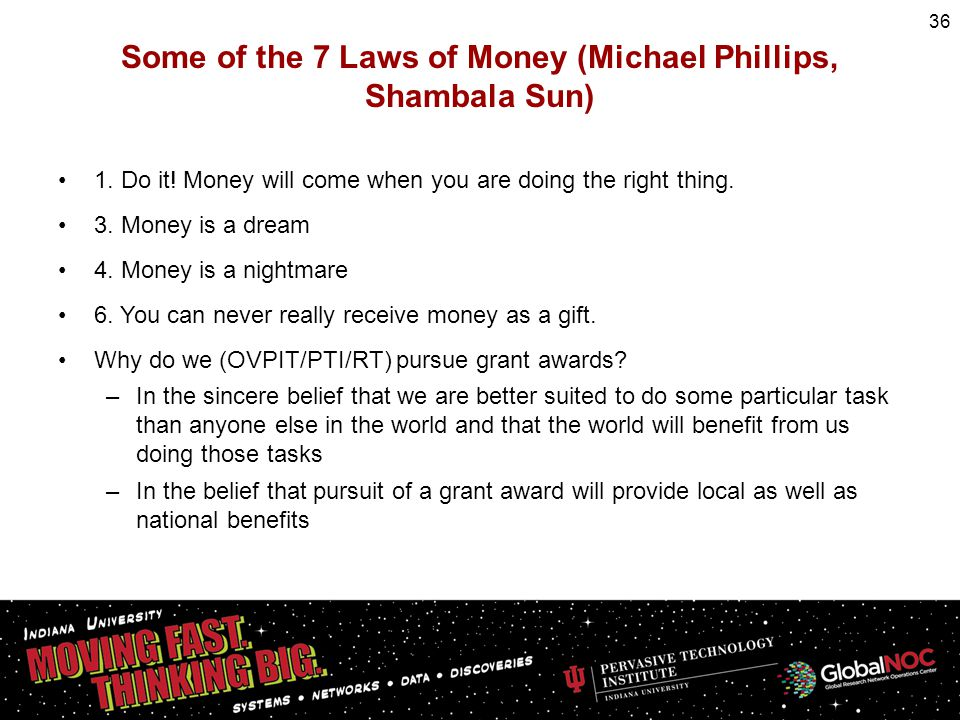 Some of the 7 Laws of Money (Michael Phillips, Shambala Sun) 1. Do it! Money will come when you are doing the right thing. 3. Money is a dream 4. Mone