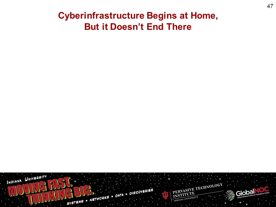 Cyberinfrastructure Begins at Home, But it Doesnt End There 47