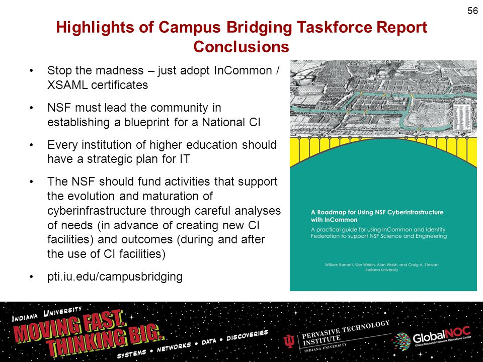 Highlights of Campus Bridging Taskforce Report Conclusions Stop the madness – just adopt InCommon / XSAML certificates NSF must lead the community in