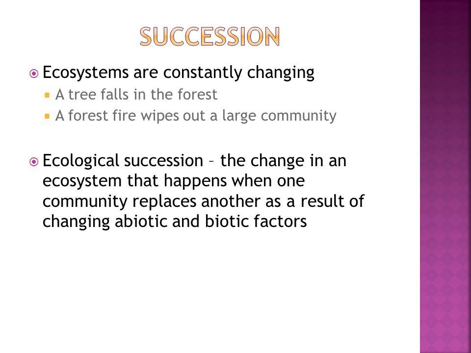 Ecosystems are constantly changing A tree falls in the forest A forest fire wipes out a large community Ecological succession – the change in an ecosystem that happens when one community replaces another as a result of changing abiotic and biotic factors