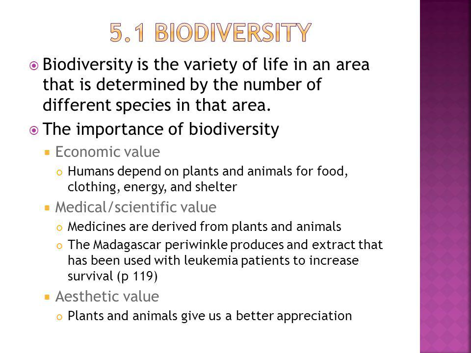 Biodiversity is the variety of life in an area that is determined by the number of different species in that area.