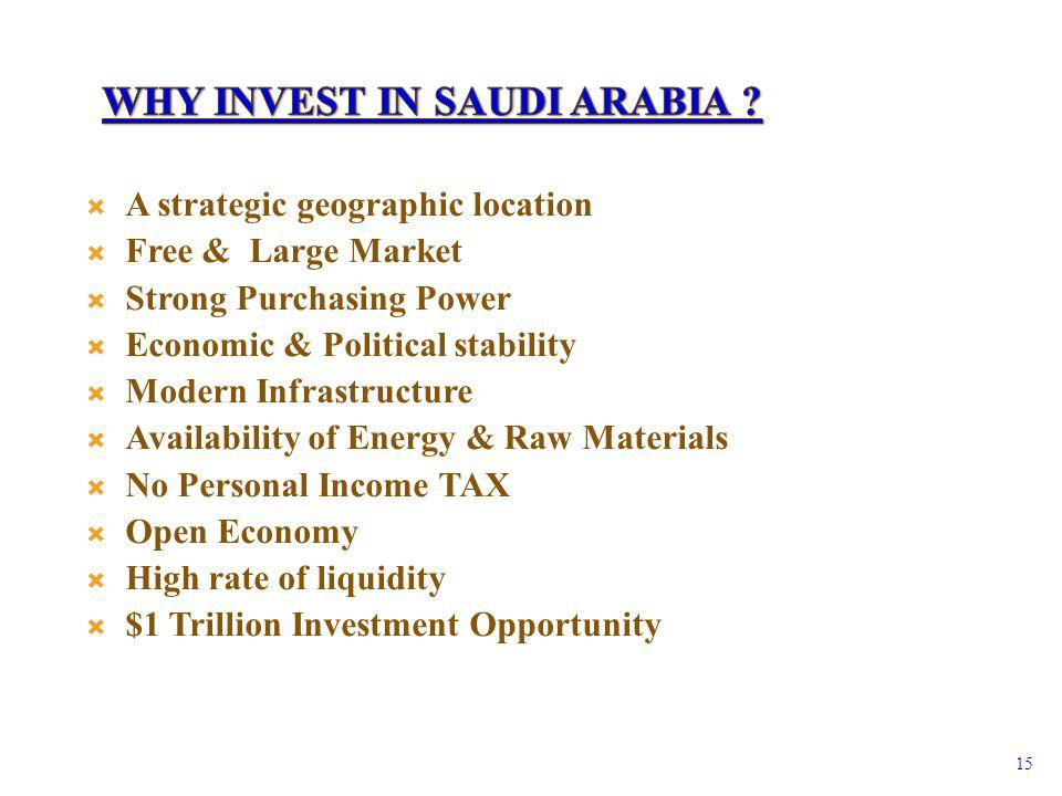 A strategic geographic location Free & Large Market Strong Purchasing Power Economic & Political stability Modern Infrastructure Availability of Energy & Raw Materials No Personal Income TAX Open Economy High rate of liquidity $1 Trillion Investment Opportunity 15