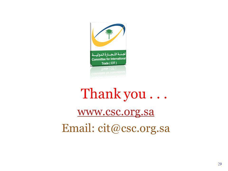 Thank you... www.csc.org.sa Email: cit@csc.org.sa 29