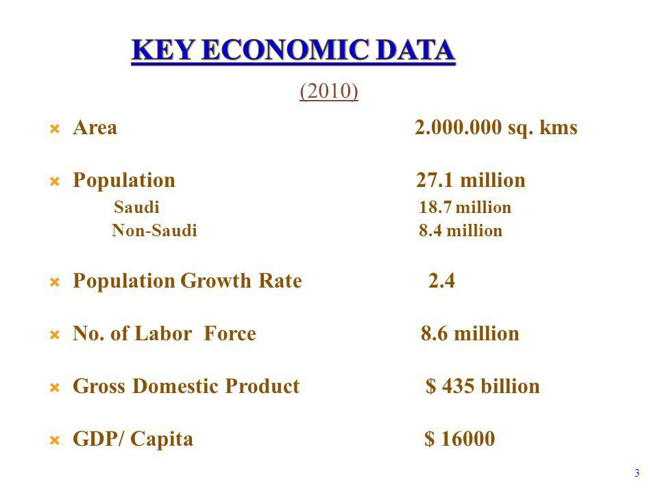 Area 2.000.000 sq. kms Population 27.1 million Saudi 18.7 million Non-Saudi 8.4 million Population Growth Rate 2.4 No. of Labor Force 8.6 million Gros