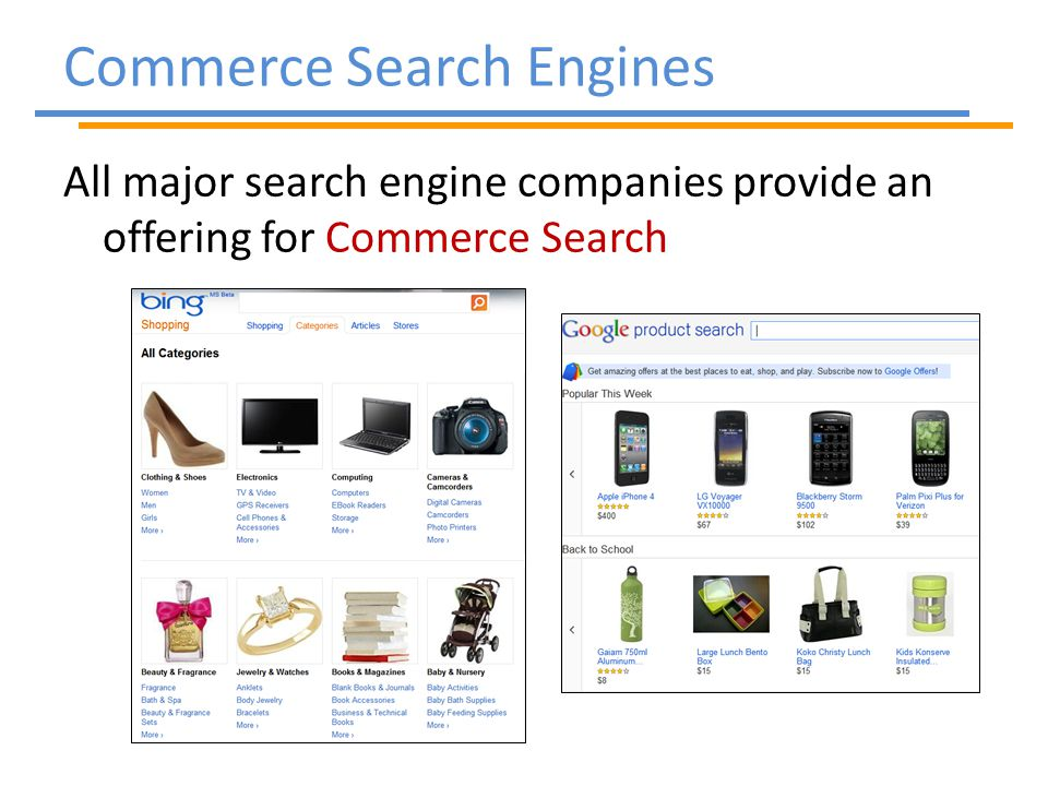All major search engine companies provide an offering for Commerce Search Commerce Search Engines